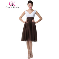 Cheap New Women Grace KarinWhite And Coffee Sexy Cocktail Dress Double V Neck Short Prom Party