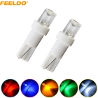 FEELDO 4Pcs T5 286 2721 Concave 1LED Car Dashboard Wedge Base LED Lights Bulbs 12V white/red/yellow/blue/green #AM-1025