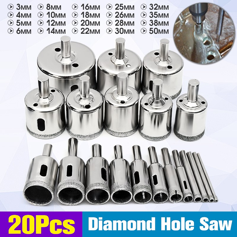 Doersupp 20Pcs 3-50mm Diamond Drill Bits Set Hole Saw Cutter Tool Glass Marble Granite Top Quality new 50mm concrete cement wall hole saw set with drill bit 200mm rod wrench for power tool