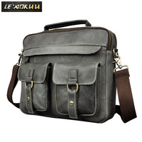 Mens Real Leather Antique Style Tote Briefcase Business 13 Laptop Cases Attache Portfolio Bag Tote B207g