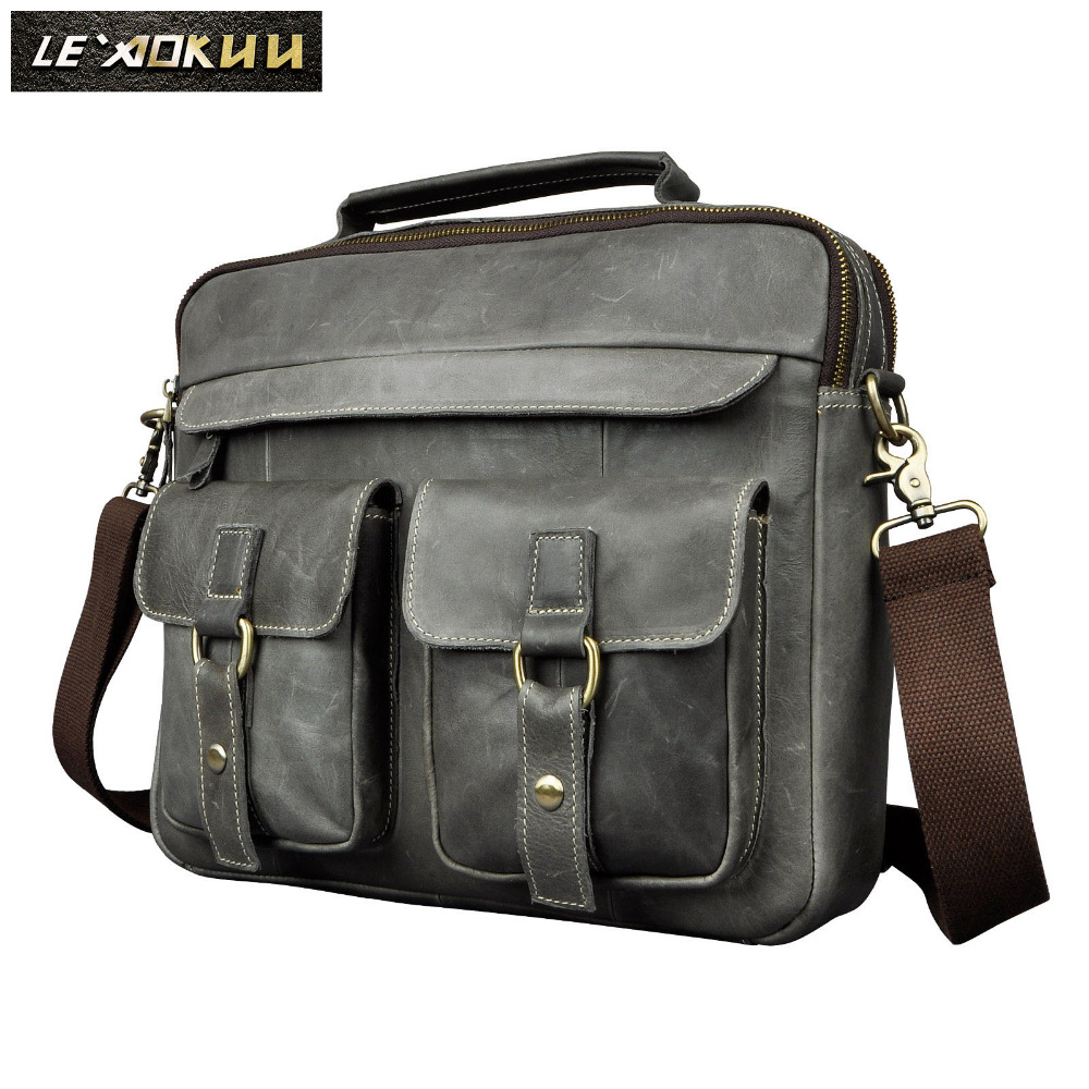 Mens Real Leather Antique Style Tote Briefcase Business 13 Laptop Cases Attache Portfolio Bag Tote B207gMens Real Leather Antique Style Tote Briefcase Business 13 Laptop Cases Attache Portfolio Bag Tote B207g