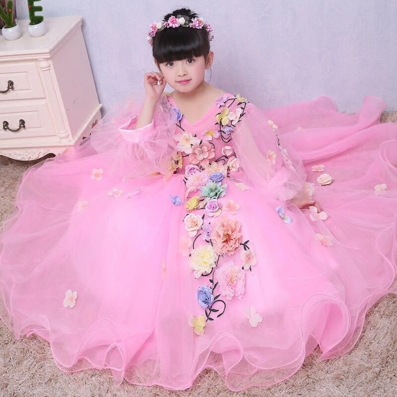 Robes de filles de fleur en princesse filles robe de soirée d'anniversaire fait à la main Costume de Piano vêtements filles rose blanc violet jaune