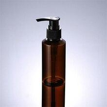 1 pcs Loção garrafa de 100 ml marrom ombro inclinado PET preto listras invadem Emulsão mercúrio pressionando garrafa De Armazenamento BQ015