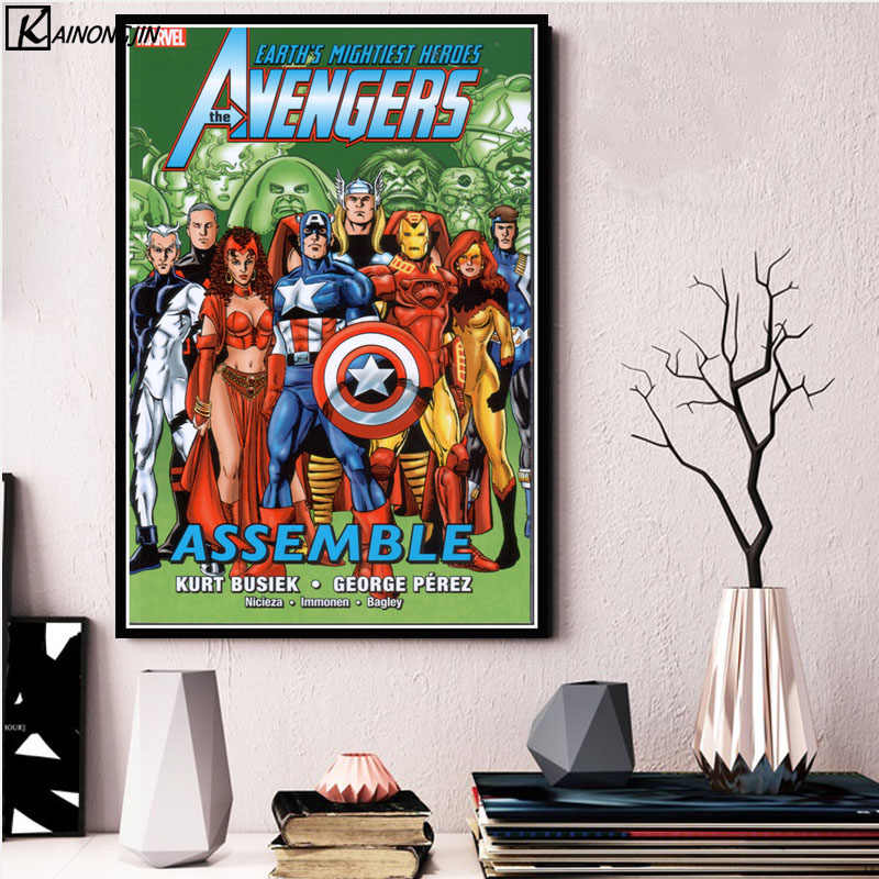 Posters and Prints Avengers Stan Lee Book Art Poster Thor Marvel DC Comic Superhero Wall Picture Canvas Painting Home Decor