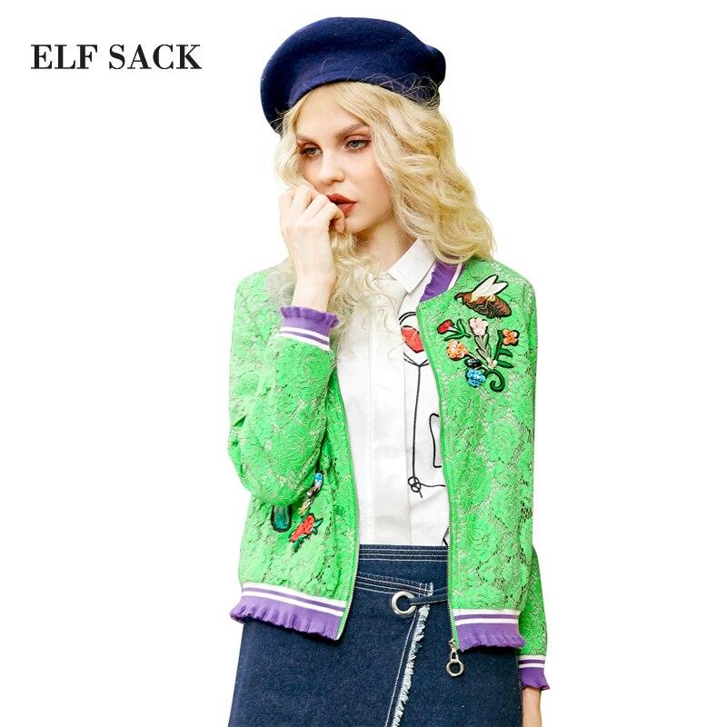 ELF SACK 2017 Spring Women Hit Color Interest Pattern Lace Short Coats Bird Flower Embroidered Zipper