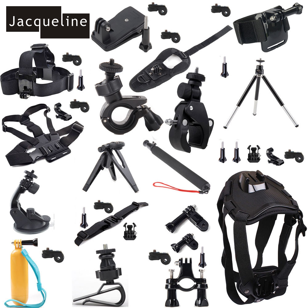 Jacqueline for Accessories Head Chest Stick Tripod Kit for Sony HDR-AS15 AS20 AS30V AS200V AS300 AS100V AZ1MINI FDR-X1000V/W 4 k jacqueline for floating monopod pole accessories for sony action cam hdr as20 as15 as100v as200v as50 as30v az1 mini
