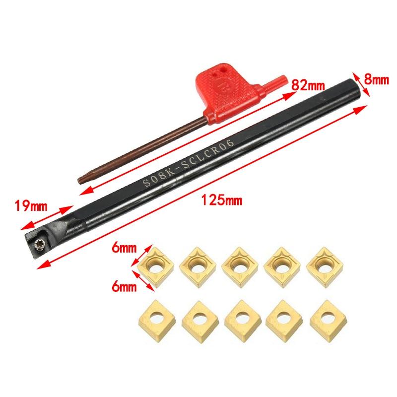 S08K-SCLCR06 CCMT060204 carbide insert lathe turning holder 10* S08K-SCLCL06