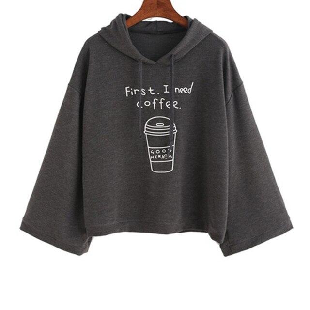 € 7.12 |Alta calidad divertido Casual mujeres Hoodies gris café letra impreso Sudadera con capucha primavera otoño Pullovers manga larga en Sudaderas