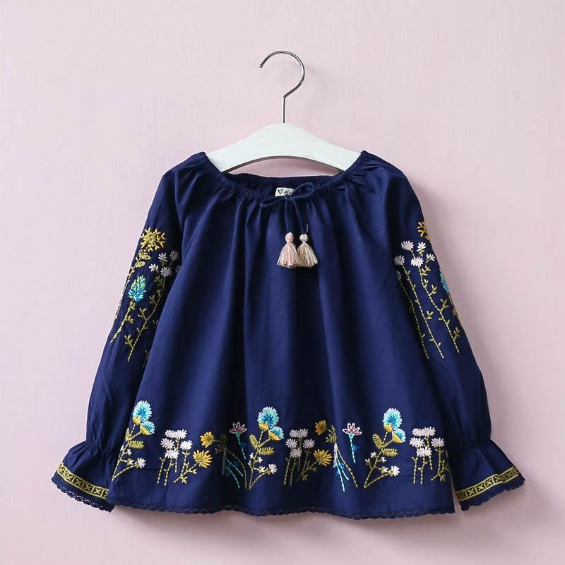 Hurave new European style girl kids dress embroidery children summer clothing long sleeve vestidos for infantil C19L4