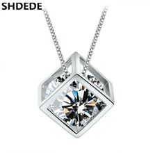 SHDEDE Cubic Zirconia Square Pendant Necklaces For Women Fashion Jewelry CZ Crystal Accessories Box Chain Female Ladies -