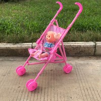 Doll Stroller Toddler Folding Portable Trolley Pretend Play Furniture Toys Simulation Mini Baby Doll Stroller Pram for Kids