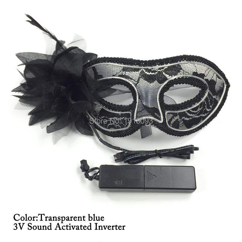 Lady Sexy Glowing Dark Lace Mask 10 Color Choice Neon Cold light LED Strip Birthday Wedding Party Props DC-3V Inverter