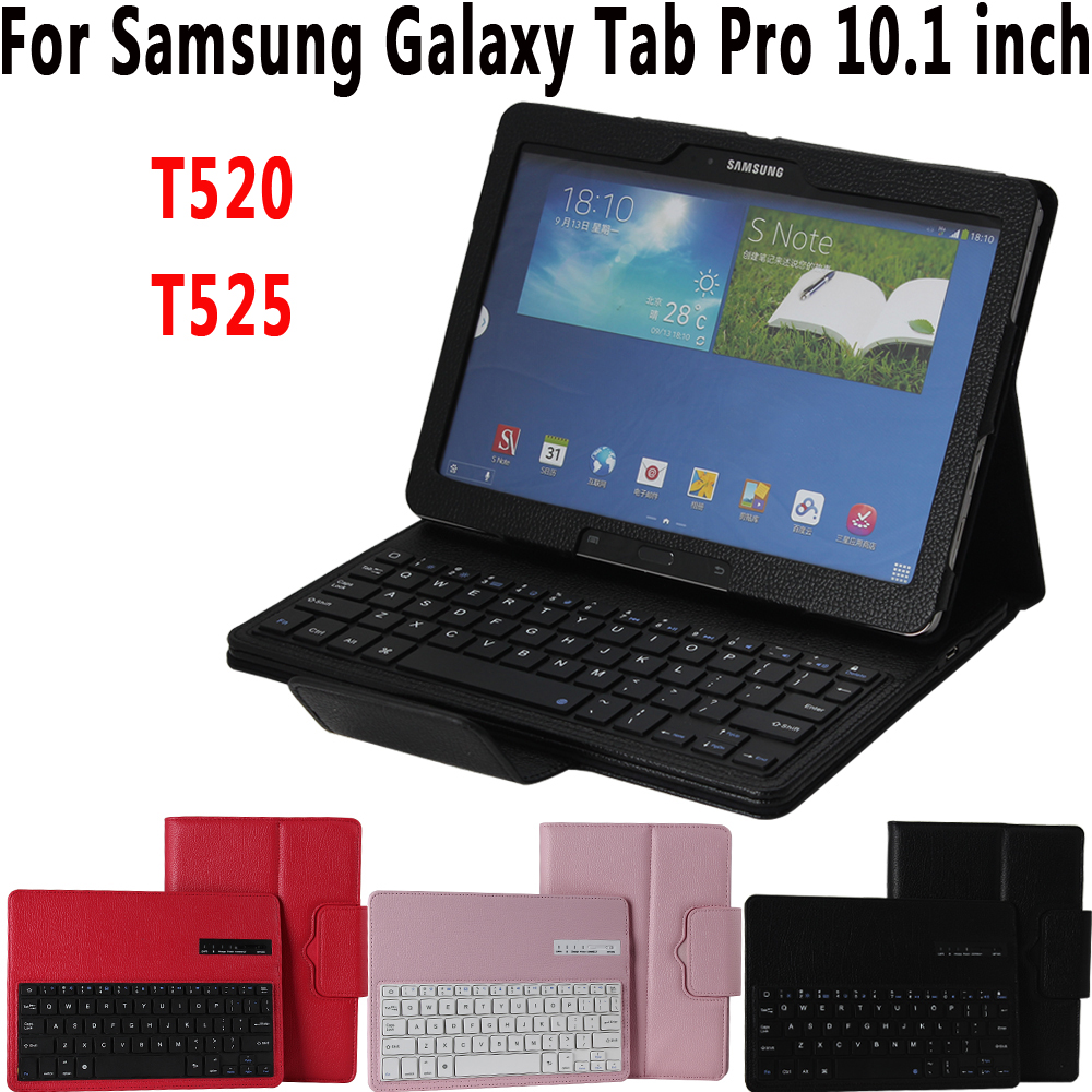 Litchi Pattern Leather Removeable Wireless Bluetooth Keyboard Case Cover for Samsung Galaxy Tab Pro 10.1 T520 T525 Coque Funda