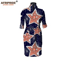 2017 autumu african dress for women AFRIPRIDE private custom half fold sleeve knee-length casual pure wax cotton A7225102
