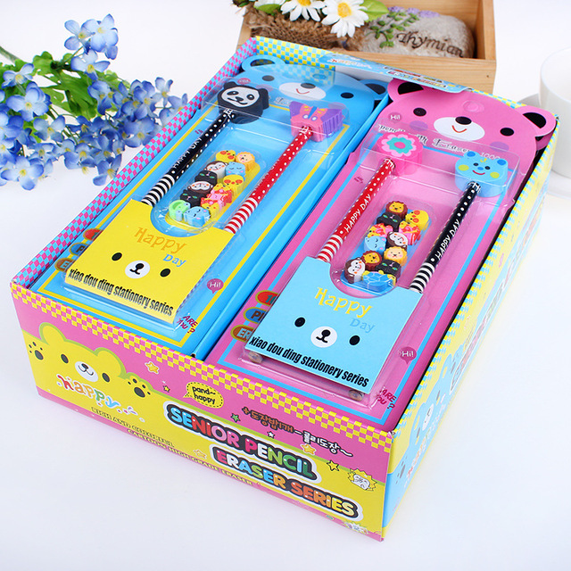 Free Shipping Girls Stationery Set 2 Pencil Eraser Sets Students Birthday Gift Ideas Livros