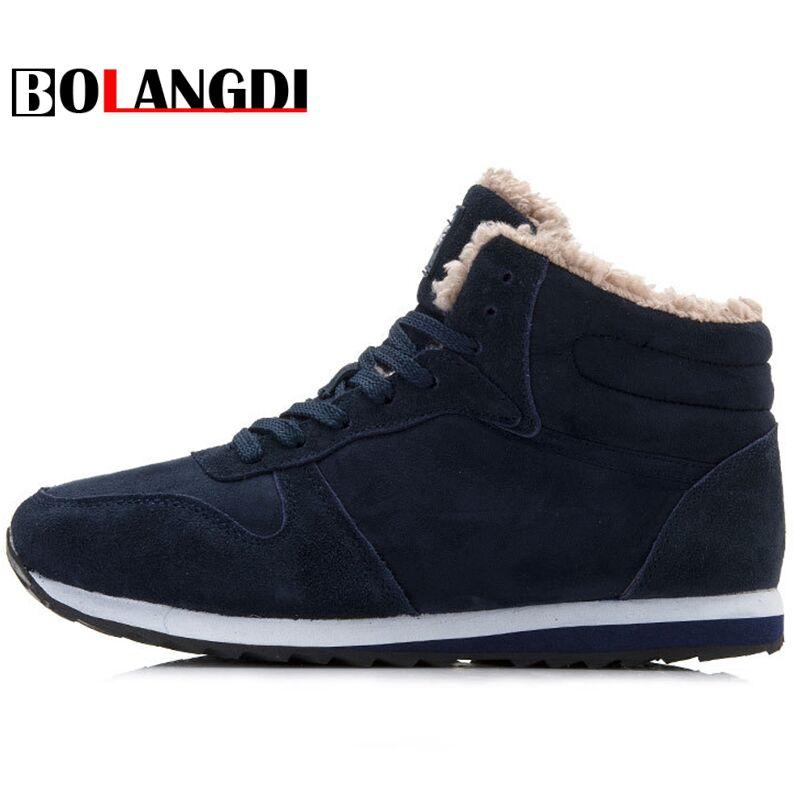 Bolangdi cuero genuino invierno hombres mujeres botas calientes zapatillas de felpa marca exterior Unisex Deporte Zapatos cómodos para correr