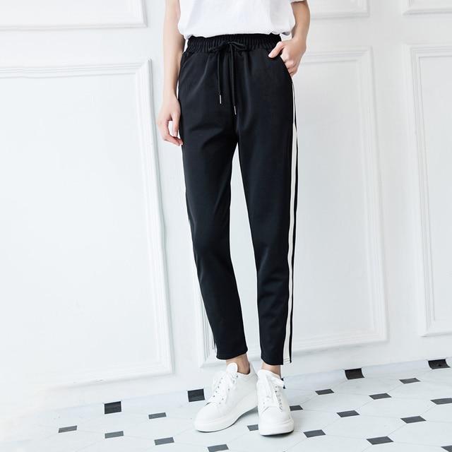 c0ce26158 Loose Pants For Women 2017 spring/Fall Fashion Winter Pants Women Grey  Trousers Mid Waist Drawstring Patch Peg Casual Long Pants