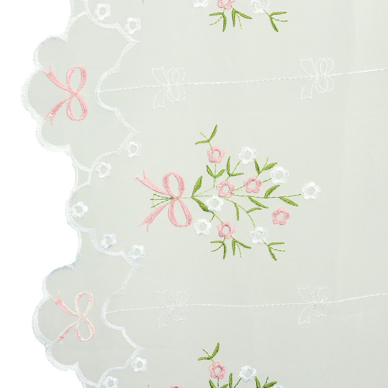 Hot Window Roller Blinds Embroider Flower Short Sheer Curtains Roman Shade Blind Living Room Kitchen Cortinas