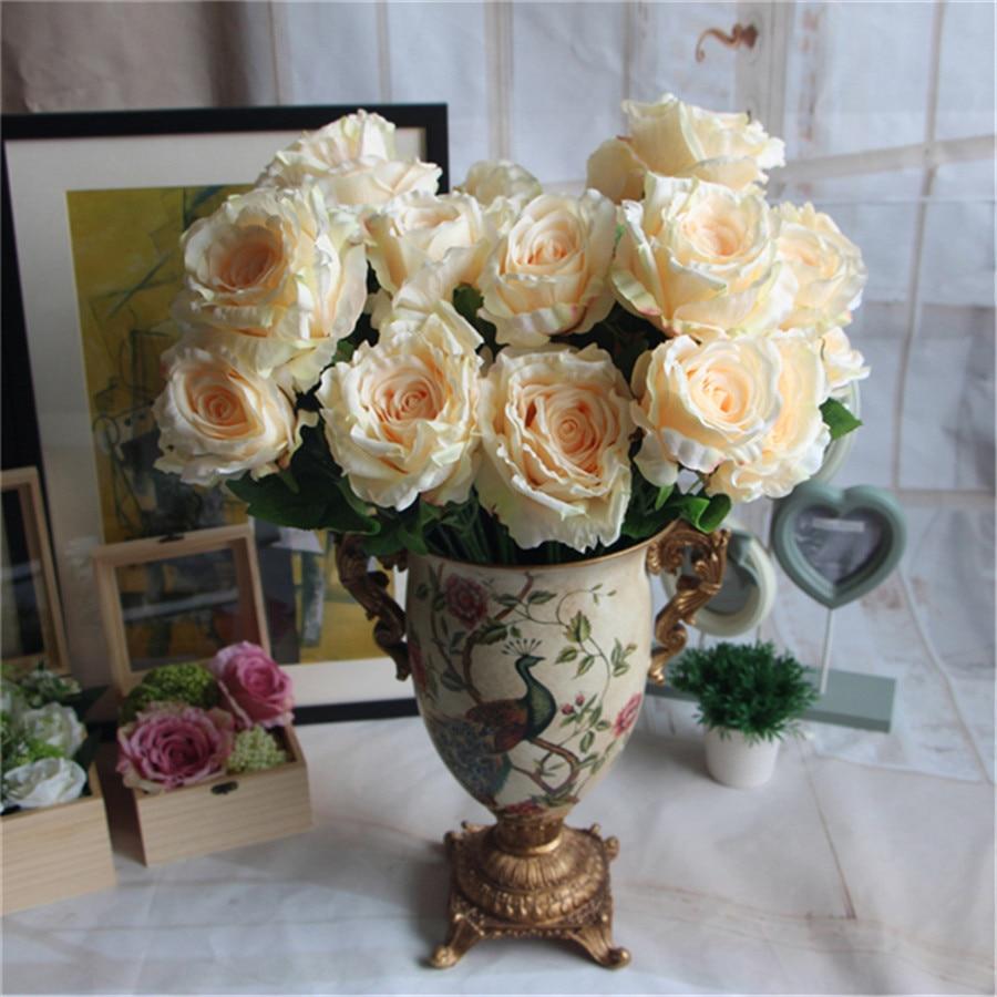 5 12 Heads bouquet peony flower bouquet palace emperor Rose silk flower rose bouquet wedding decoration