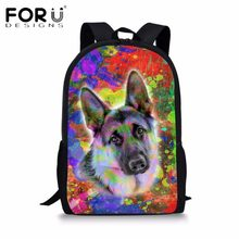 FORUDESIGNS Cute Children Canvas School Bags Colorful Animal Dog Girls Boys  School Backpack Bags for Teenagers Book Bags Kids 35c58247ab2ab