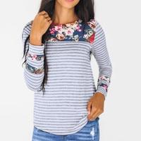 Женская футболка с длинным рукавом с принтом пэчворк пуловер с круглым вырезом Повседневная футболка Топы 2019 новое поступление тонкая мягк