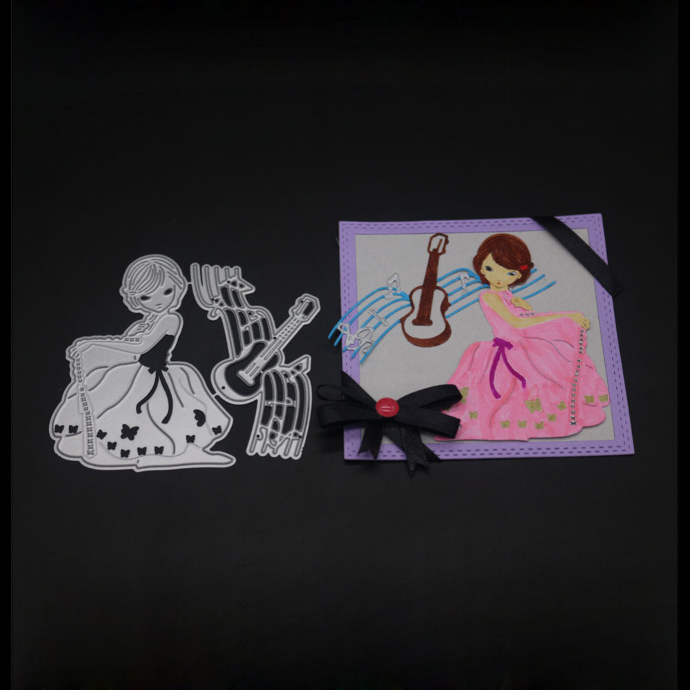 New Elegant woman&Music score Set Metal Cutting Die Stencil for DIY Scrapbooking/photo a ...