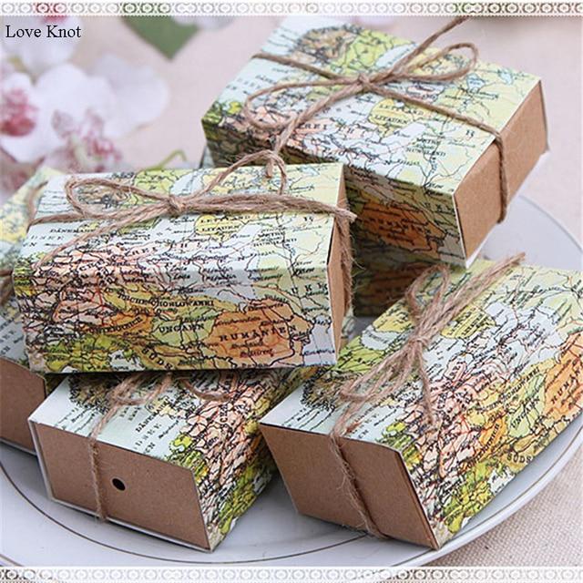 50pcs Casamento World Map Wedding Favors Boxes Wedding Candy Box Wedding Favors And Gifts Event & Party Decoration Supplies