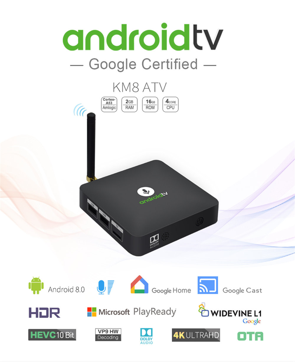 Newest MECOOL KM8 Android 8.0 TV Box Google Voice Control Amlogic S905X 2GB 16GB VP9 HDR10 Dolby Audio 4K HD Smart Set Top Box