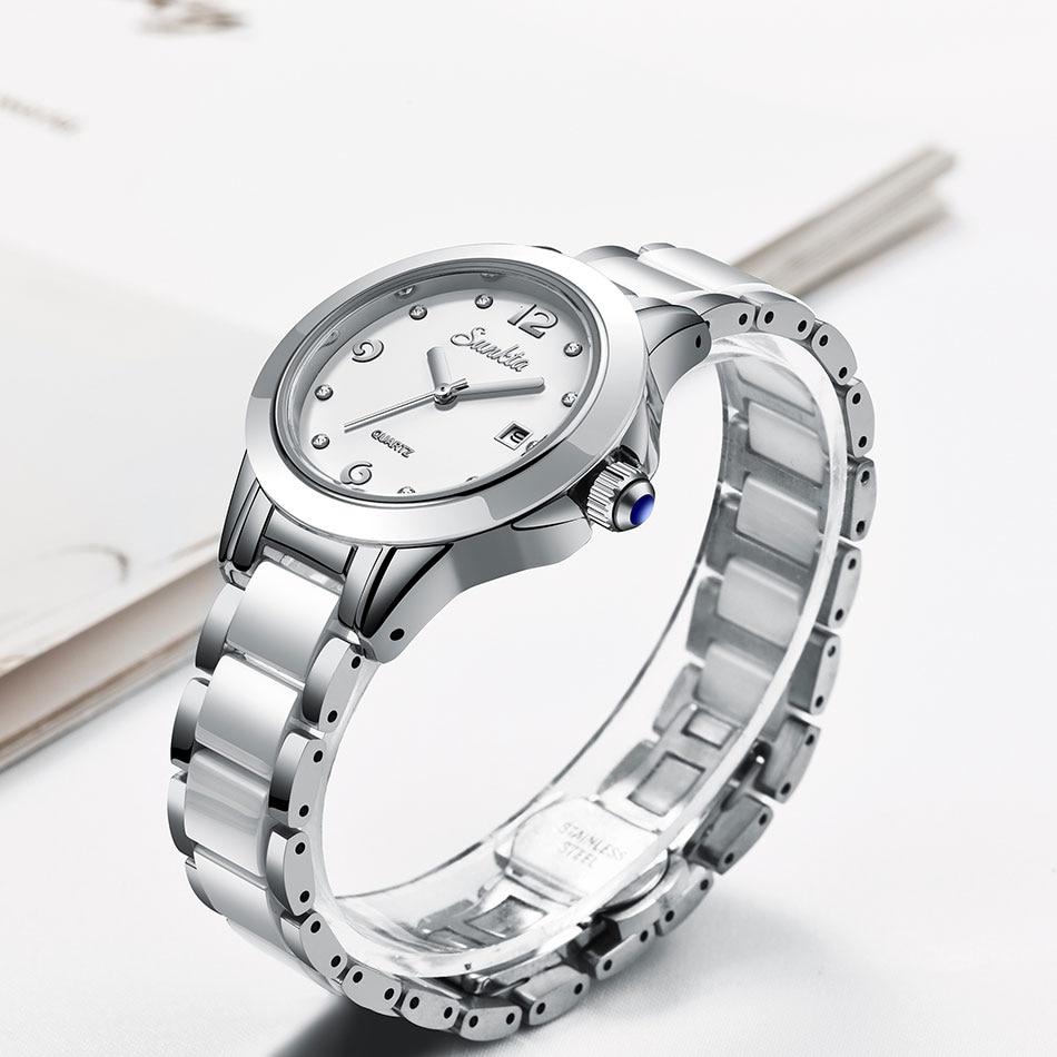 SUNKTA Quartz Mulheres Relógios Cerâmica Relógios Das