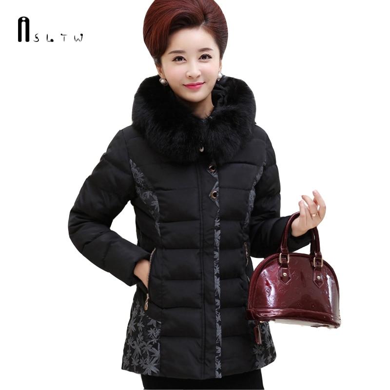 XL-5XL Winter Jacket Women Plus Size Solid Color Padded Jacket Women Coat Fur Collar Middle-age Women   Parka   J299
