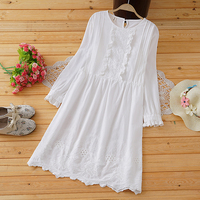 sweet ruffled lacing embroidery o neck long sleeve white cotton loose dress mori girl 2018 autumn