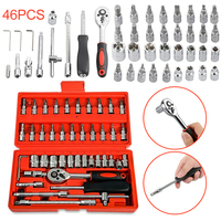 46pcs 1/4 Inch Car Repair Tool Ratchet Wrench Drive Socket Set Socket Wrench Set Household Mend Set