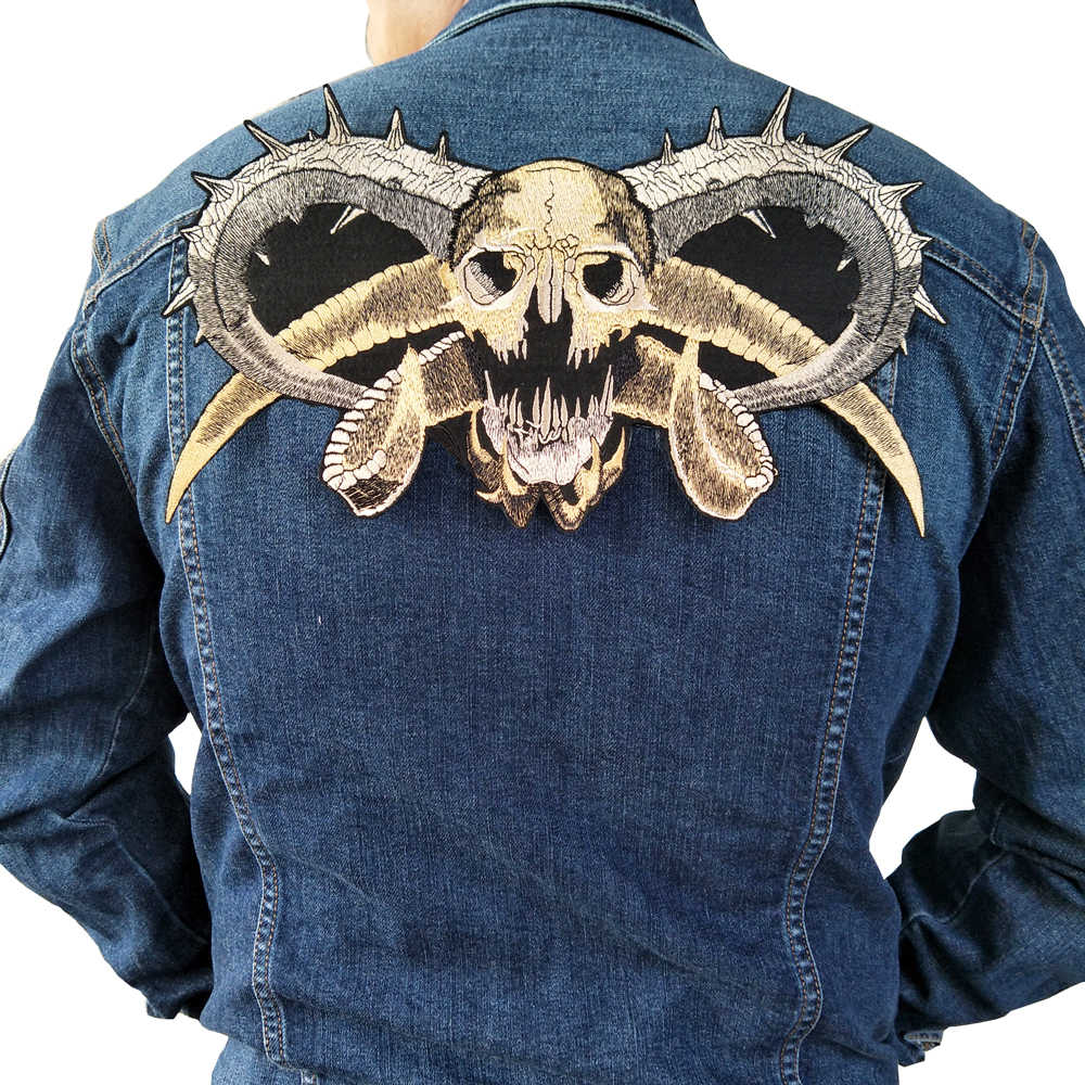 punk motorcycle embroideried skeleton biker badge skull patch Garment Accessory Patches Large wolf biker patch for Jacket backing