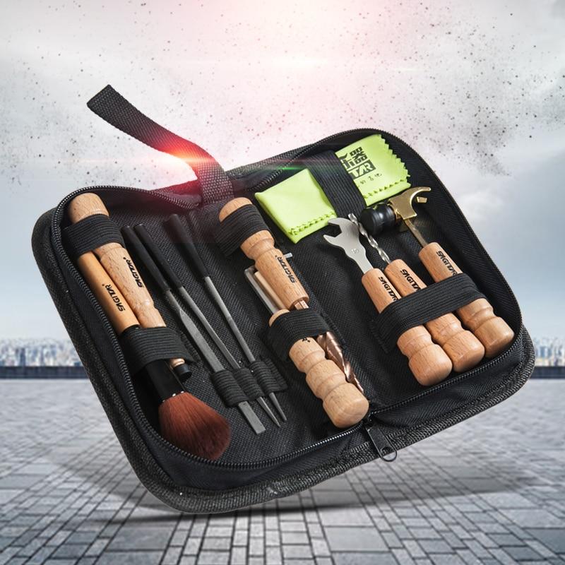 11 Pcs/Pack Guitar Repair Tools/Kit (Brush/String-winder/Hammer etc.) Instruments case bags Guitar Parts Accessories