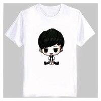 Kpop ikon członkiem zdjęcia kreskówek drukowania biały t shirt plus size fani wspomagającą o szyi krótkim rękawem t-shirt bobby b. i top tees