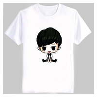 Kpop ikon membre de bande dessinée images impression t-shirt blanc, plus la taille fans de soutien o cou à manches courtes t-shirt bobby b. je top t-shirts