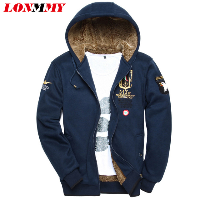 LONMMY M-3XL 2016 Winter Bomber jacket male Velvet Thick Air force 1 coats mens hoodies and sweatshirts Army tracksuits for men