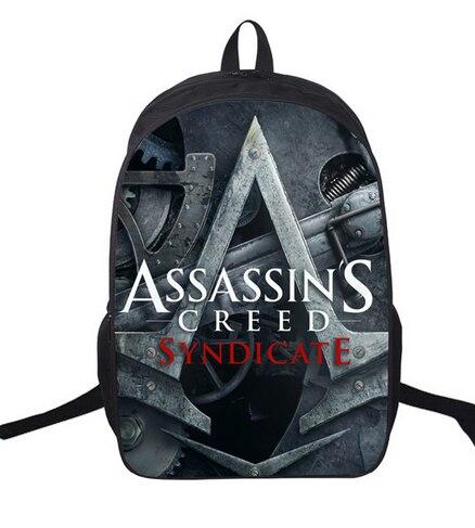 16 Дюймов Assassin's Creed Рюкзак Для Подростков Детей Школьные Сумки Мальчиков Assassins Creed Рюкзаки Мужчины Ежедневно Мешок Женщины Рюкзак