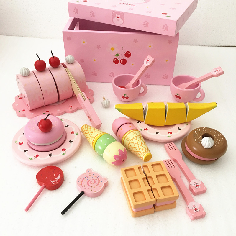 wooden colorful disassembly gas stove puzzle simulation baby kitchen kitchenware children s home toys assembled toys Baby Toys Strawberry Simulation Cake Cut Cherry Bear Dessert Snack Set Wooden Toys Child Educational Kitchen Afternoon Tea Gift