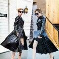 Europa 2017 Popular Trench Coat Para Mulheres de Slim Casacos De Couro Outono Mulher Jaqueta Preta Moda Com Cinto de longo X-Trincheira de couro