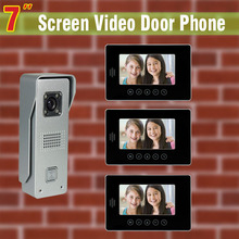 7″ Video Door Phone Intercom System Video Doorbell Intercom kit  aluminum alloy camera 3-touch monitor visual intercom for villa