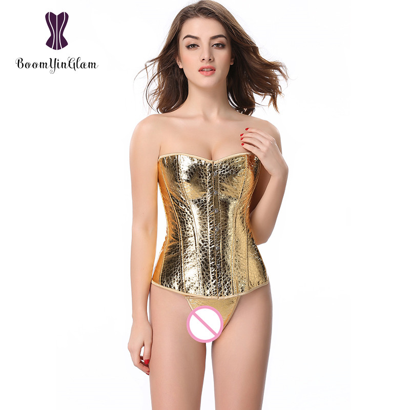 Free Shipping Elegant Women Dance Costumes Waist   Corset   Body Shaper Faux Leather Gold Sequin Overbust   Corsets   845#