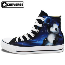 Galaxy Panda Original Design Converse All Star Women Men Shoes Custom Hand Painted High Top Canvas Sneakers Christmas Gifts