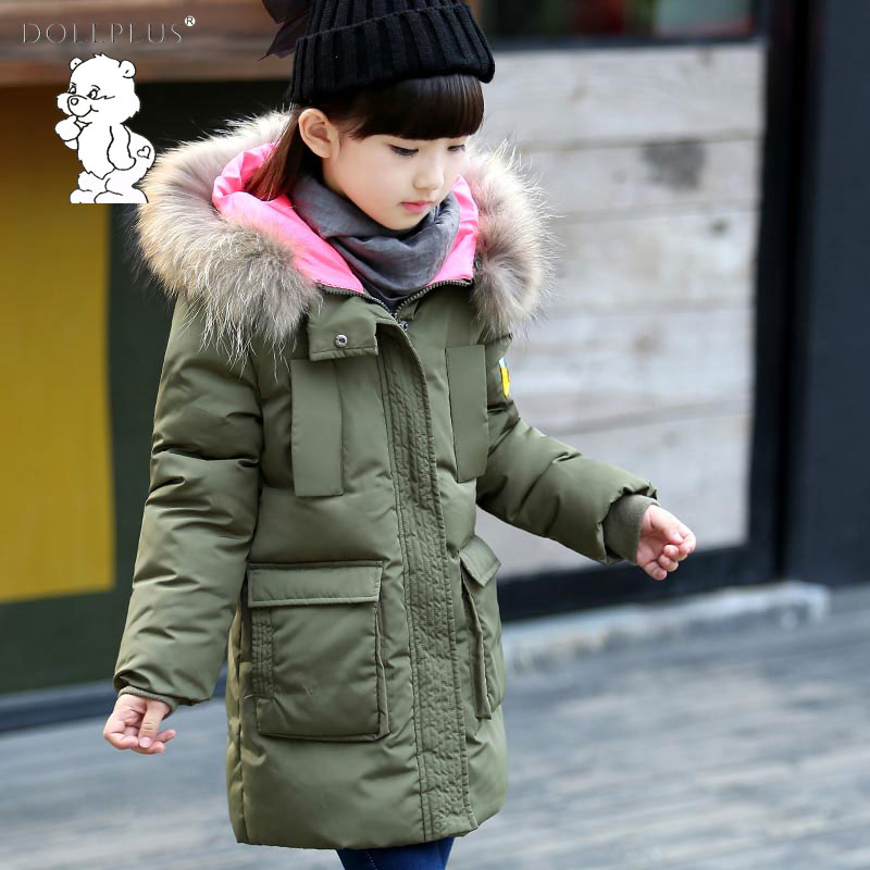 Dollplus  Fashion And High Quality Winter Girls Fur Collar Coat 2017 Girl'S Long Down Jacket For 4-12T