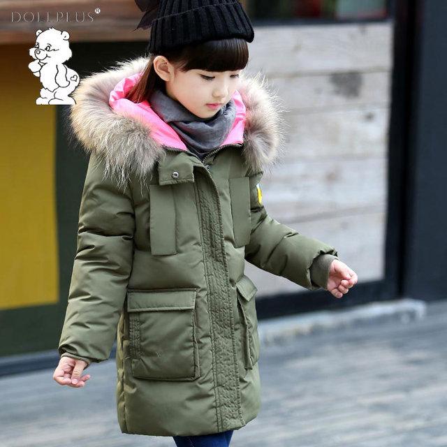 Dollplus/модные и высокое качество зимние Обувь для девочек Мех Куртка с воротником 2017 Девушки длинный пуховик для От 4 до 12 лет