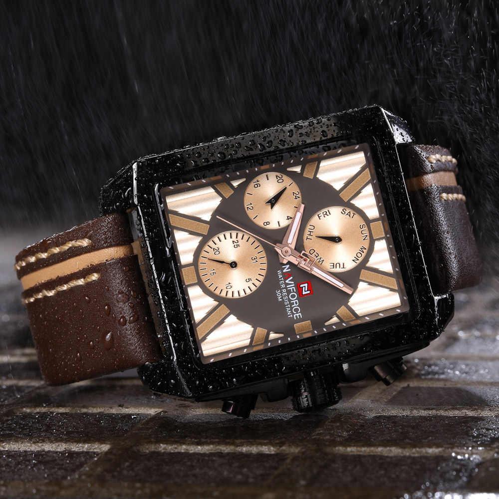 NAVIFORCE relojes para hombre marca superior de lujo rectángulo Casual reloj deportivo hombres impermeable cuero cuarzo reloj de pulsera reloj masculino 2019