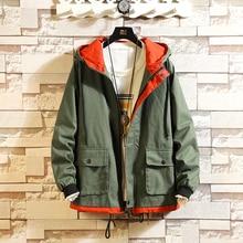 Autumn Winter New Jacket Men Retro Orange Large Size M-5XL Drawstring Streetwear Casual Male Clothes Pilot Bomber Thick Coat