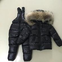 Детская одежда для мальчиков и девочек зимнее пуховое пальто теплые куртки для детей зимний костюм для малышей с динозавром комплект одежды: куртка + штаны