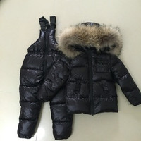 Kids Clothes Baby Boys Girls Winter Down Coat Children Warm Jackets Dinosaure Toddler Snowsuit Outerwear Coat+Pant Clothing Set