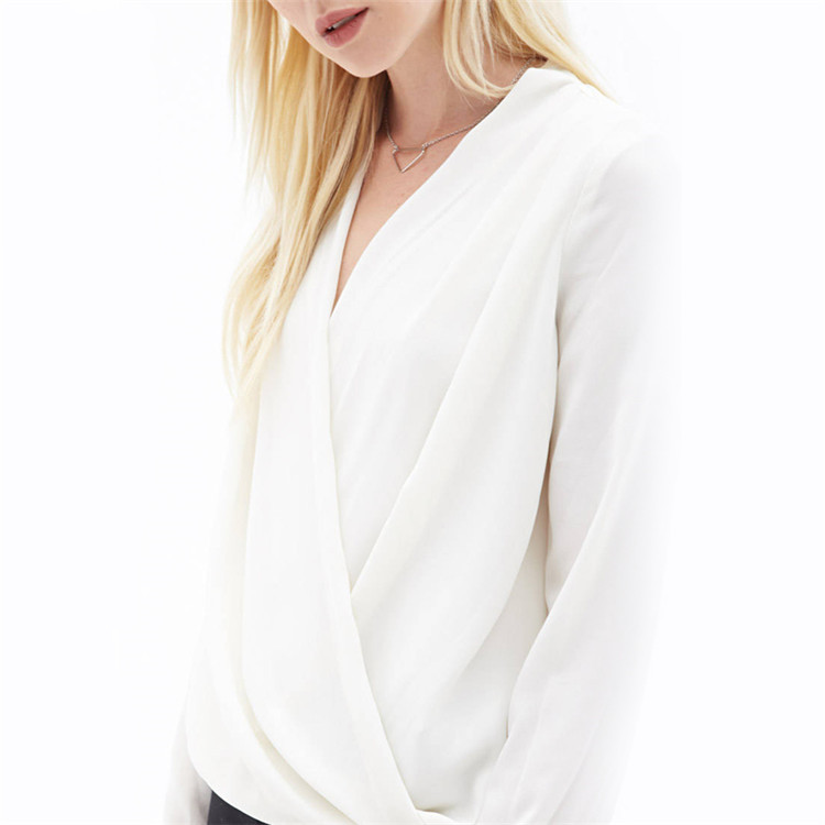 Western Fashon Cross V Neck Shirt Office Lady White Work Wear Top Blusas 2018 Solid Long Sleeve Chiffon Blouse Women Elegant